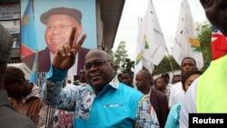 Felix Tshisekedi, chef de l'Union pour la démocratie et le progrès social (UDPS), dans la commune de Limete, Kinshasa, le 24 avril 2017.