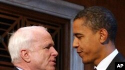 "At 185 centimeters - 6'1"" - Barack Obama was noticeably taller than his 173-centimeer (5'8"") Republican opponent, John McCain, in 2008."