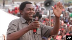 FILE - Hakainde Hichilema, of the Zambia opposition United Party for National Development addresses an election rally in Lusaka, Zambia, Jan. 2015.
