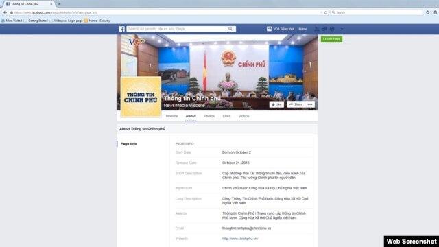 Screenshot trang Facebook 'Thông Tin Chính Phủ'.