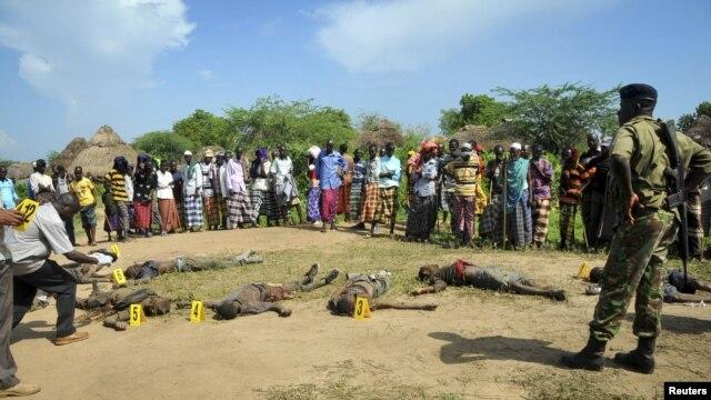 Villageois et policiers observent les corps de présumés assaillants Pokomo dans la région de Tana, au Kenya (21 déc. 2012)