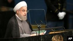 Tổng thống Iran, Hassan Rouhani, phát biểu tại phiên họp Đại hội đồng Liên Hiệp Quốc lần thứ 71 ở New York, ngày 22 tháng 9 năm 2016.