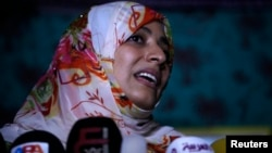 Airport officials barred Yemeni activist and Nobel Peace Prize winner Tawakul Karman, seen here at a protest camp in Sanaa on April 18, 2013, from entering Egypt.