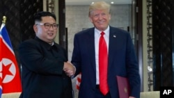 """""""Toda la relación con la Península Coreana será mucho mejor que en el pasado. Hemos desarrollado una relación muy buena"""", dijo Trump a los miembros de la prensa."""