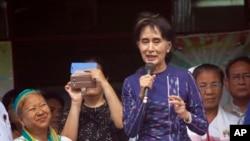 緬甸反對黨全國民主聯盟領袖昂山素姬。(資料圖片)