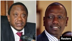 Uhuru Kenyatta (Kushoto) na mgombea mwenza wake William Ruto