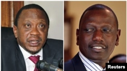 Naibu waziri mkuu wa Kenya's finance minister Uhuru Kenyatta (Kushoto)na waziri wa zamani William Ruto wakizungumza na waaandishi kwa nyakati tofauti.