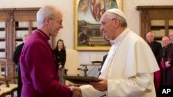 教宗方濟和英國聖公會坎特伯雷大主教韋爾比,6月14日舉行了今年三月就任以來的首次會晤。