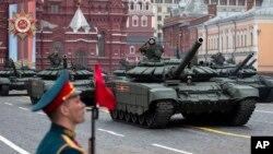 2019年5月9日,在俄罗斯莫斯科红场举行的纪念二战结束74周年的胜利日阅兵仪式上。