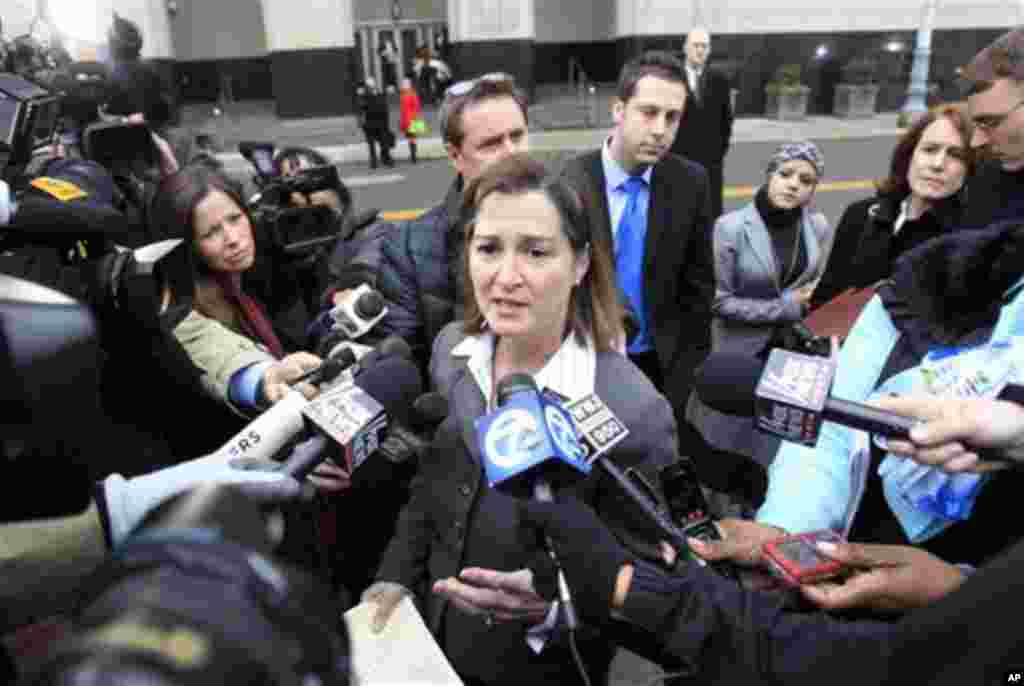 Barbara McQuade, United States Attorney for the Eastern District of Michigan addresses the media outside federal court in Detroit, Thursday, Feb. 16, 2012. Umar Farouk Abdulmutallab, the man who tried blowing up a Northwest Airlines flight on Christmas Da