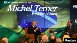 Prezidan Brezil la, Michel Temer, ki t ap fè yon entèvyou avèk redaktè-an-chèt ajans nouvèl REUTERS, Steve Adler, de pi gwo ekonomi ki genyen nan Amerik Latin nan (ekonomi brezilyèn nan).