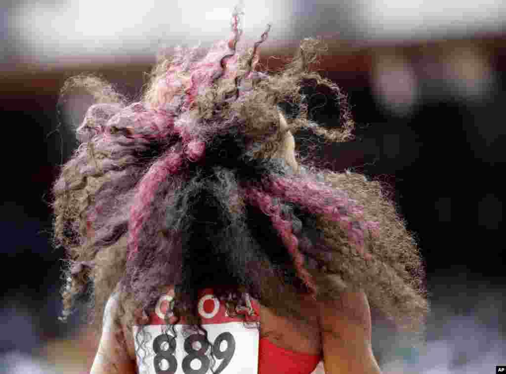 Natasha Hastings of the United States waits to start during the World Athletics Championships at the Bird's Nest stadium in Beijing, China.