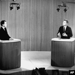 FILE - Democratic Sen. John F. Kennedy, right, speaks and Republican Vice President Richard Nixon listens during the fourth presidential debate from a New York studio. The fall debates are always a big part of any presidential campaign. But with many 2016
