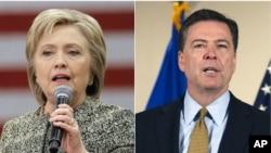 ທ່ານນາງ Hillary Clinton (ຊ້າຍ) ແລະຜູ້ອຳນວຍການ ອົງການ FBI ທ່ານ James Comey (ຂວາ)