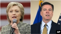 "FILE - The FBI recommended that no criminal charges be brought against Hillary Clinton in connection with her use of a private email server as secretary of state. Director James Comey called her actions ""extremely careless"" but said charges were unwarranted."