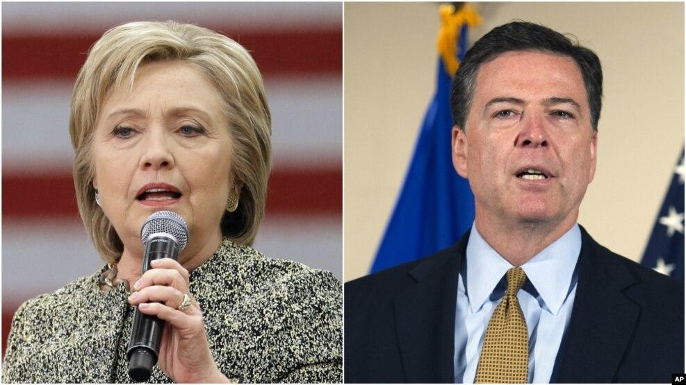 លោក James Comey ប្រធានការិយាល័យស៊ើបអង្កេតសហព័ន្ធ FBI (ឆ្វេង) និយាយកាលពីថ្ងៃអង្គារថា មិនគួរមានការចោទប្រកាន់លោកស្រី Clinton រឿងប្រើអ៊ីមែលឯកជនទេ។