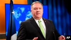 国务卿蓬佩奥在国务院记者会上发表讲话。(2020年5月20日)