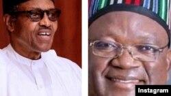 Buhari (hagu) Samuel Ortom (dama) (Instagram Buhari/Ortom)