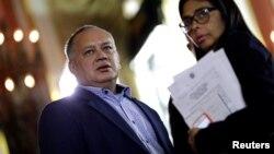 Diosdado Cabello junto a la presidenta de la Asamblea Constituyente, Delcy Rodríguez, en un evento del 5 de agosto de 2017.