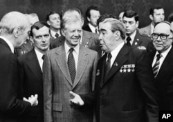 U.S. President Jimmy Carter And Soviet leader Leonid Brezhnev in 1979.