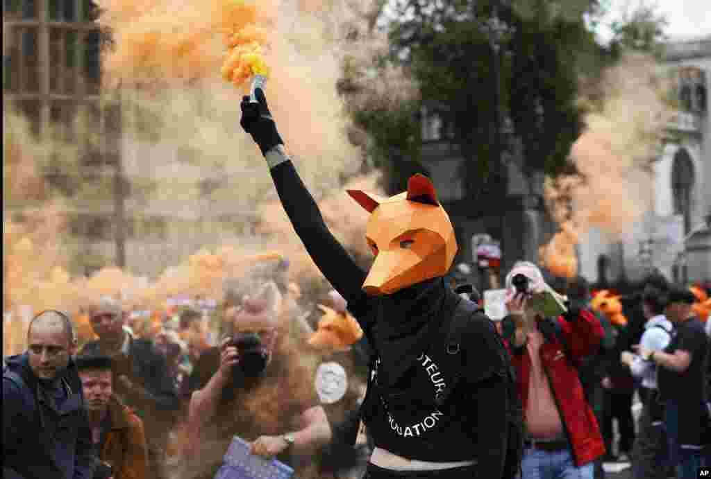 Protesters dressed as foxes demonstrate in front of the Houses of Parliament in London, urging policymakers to keep the Hunting Act intact.