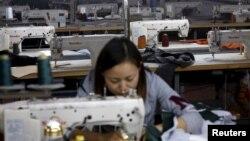 Pekin'de bir tekstil fabrikası