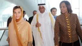 (l-r) United Nations Climate Change Convention, Executive Secretary Christiana Figueres; Convention President Abdullah bin Hamad Al-Attiyah; and former Convention President Maite Nkoana-Mashabane. (IISD Reporting Services)