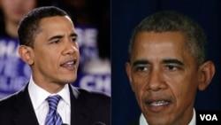 左图为奥巴马2008年当选总统时,右图为奥巴马2015年在美国白宫发表讲话