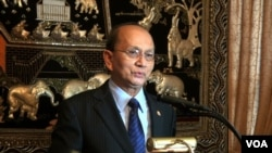 Myanmar President meets Burmese community at the Burma Embassy in Washington D.C. May 18, 2013, file photo.