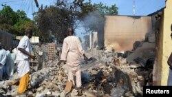 被激進組織博科聖地破壞的民居。(2013年9月19日資料照片)