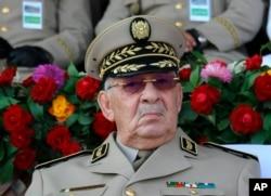 "Algerian chief of staff Gen. Ahmed Gaid Salah presides a military parade at the Cherchell ""Houari Boumediene"" in Algiers, July 1, 2018."