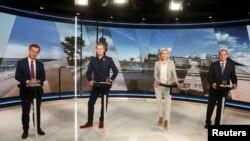 Lider umerenjaka Ulf Kristersson, portparol Zelene stranke Gustav Fridolin, liderka Hrišćansko-demokratske partije Eba Buš Tor i švedski premijer i lider socijaldemokrata Stefan Lofven tokom TV debate u Stokholmu, Švedska, 3. septembra 2018.