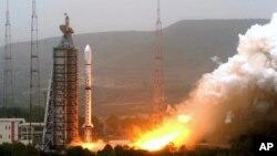 Vệ tinh dự báo thời tiết Olympic được phóng bởi tên lửa chuyên chở Trường Chinh 4C từ Trung tâm Phóng Vệ tinh Thái Nguyên ở tỉnh Sơn Tây. (Ảnh tư liệu)