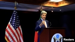 U.S. Secretary of State John Kerry addresses a news conference during his official visit to Ethiopia's capital Addis Ababa, May 1, 2014.
