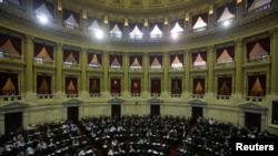 Legisladores debaten en el Congreso argentino. Buenos Aires, Argentina el 18 de diciembre de 2017.