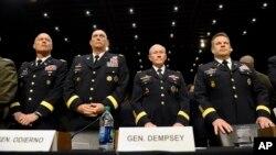 Para pemimpin militer AS mendapat pertanyaan gencar di Senat AS mengenai pelecehan seksual dalam militer (4/6).