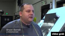 Bryon Borrell, Lithographer. (VOA/Videograb)