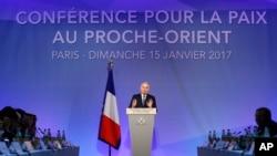 法国外长艾罗在法国主办中东和平会议(2017年1月15日)