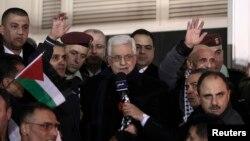 12月31日巴勒斯坦領導人阿巴斯發表講話﹐對以色列釋放巴勒斯坦囚犯表示歡迎。