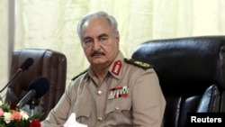 Libya's eastern-based commander Khalifa Haftar attends General Security conference, in Benghazi, Libya, Oct. 14, 2017.