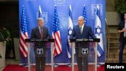 ABŞ-ın milli təhlükəsizlik məsələləri üzrə müşaviri Con Bolton İsrailin baş naziri Benyamin Netanyahu ilə birgə mətbuat konfransı zamanı, 20 avqust, 2018.