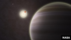 An artist's illustration of PH1, a planet discovered by volunteers from the Planet Hunters citizen science project. PH1, shown in the foreground, is the first reported case of a planet orbiting a double-star that, in turn, is orbited by a second distant p