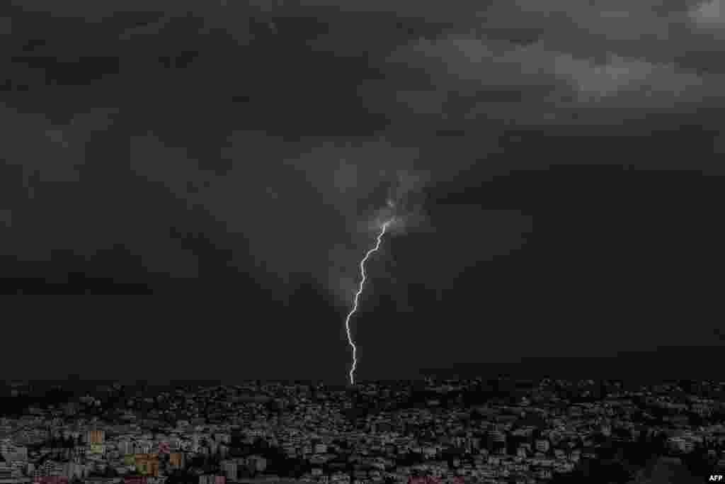 Lightning strikes over the French Riviera city of Nice.