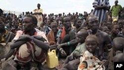 Les déplacés qui ont fui les rebelles, se rassemblent dans le comté de Pibor, 17 janvier 2012.