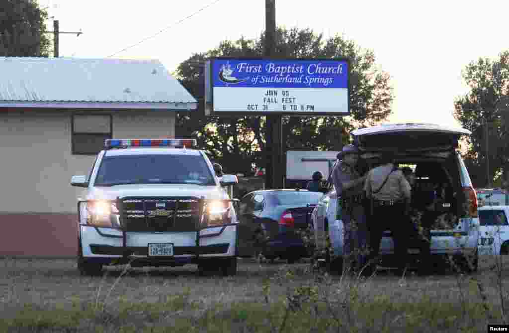 First responders are at the scene of a shooting at the First Baptist Church in Sutherland Springs, Texas, Nov. 5, 2017.