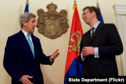 U.S. Secretary of State John Kerry alongside Serbian Prime Minister Aleksandar Vucic delivers a statement to the press at the Prime Minister's residence in Belgrade, Serbia, on December 2, 2015. (Photo: State Department Flickr)