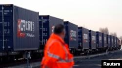 第一列從中國抵達英國的貨運火車。(2017年1月18日)