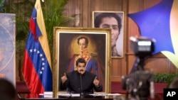 委内瑞拉总统马杜罗在卡拉卡斯的新闻发布会上讲话(2017年8月22日)