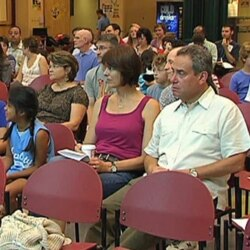 An interfaith meeting in a high school in Kensington, Maryland