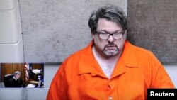 Jason Dalton is shown on closed circuit television during his arraignment in Kalamazoo County, Michigan, Feb. 22, 2016. Dalton was reportedly an Uber driver who may have given rides to customers during the rampage.